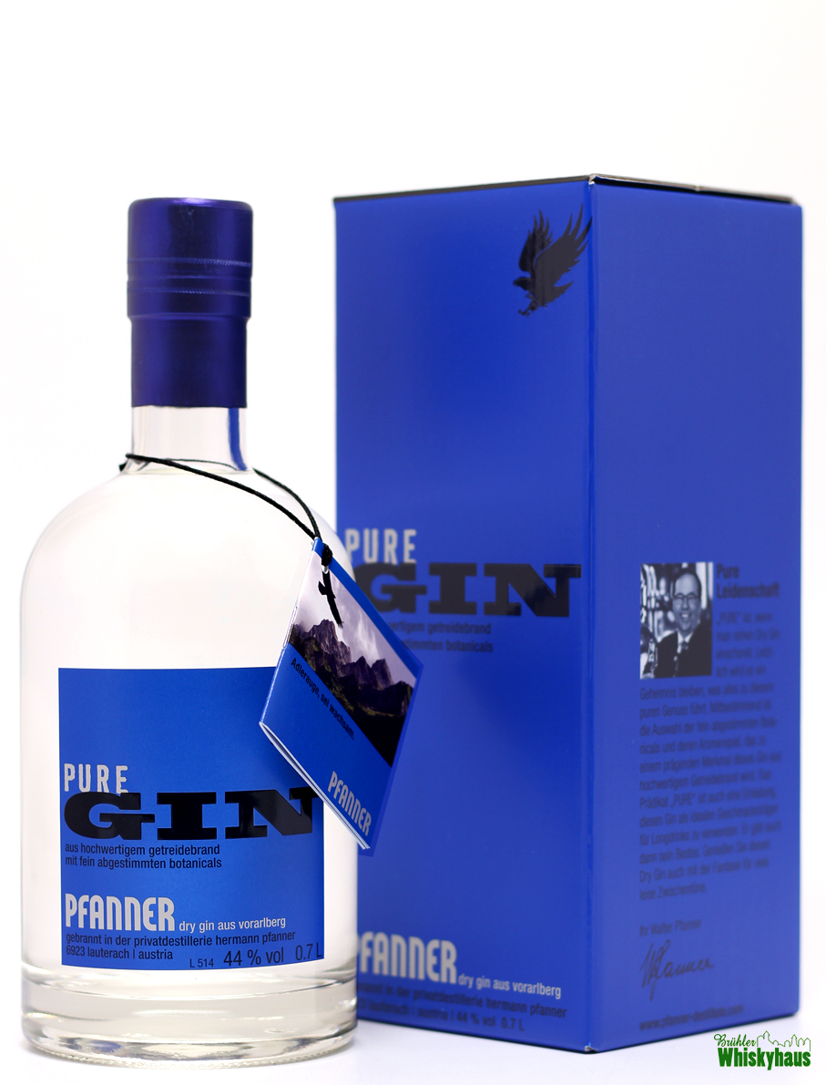 Pfanner Pure Gin - Getreidebrand mit fein abgestimmten Botanics - Dry Gin aus Voralberg