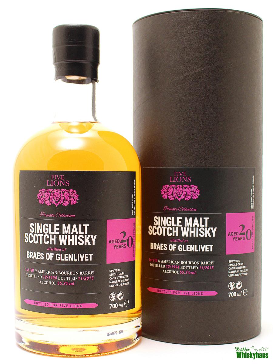 Braes of Glenlivet 20 Jahre - 1st Fill American Bourbon Barrel - Five Lions - Single Malt Scotch Whisky