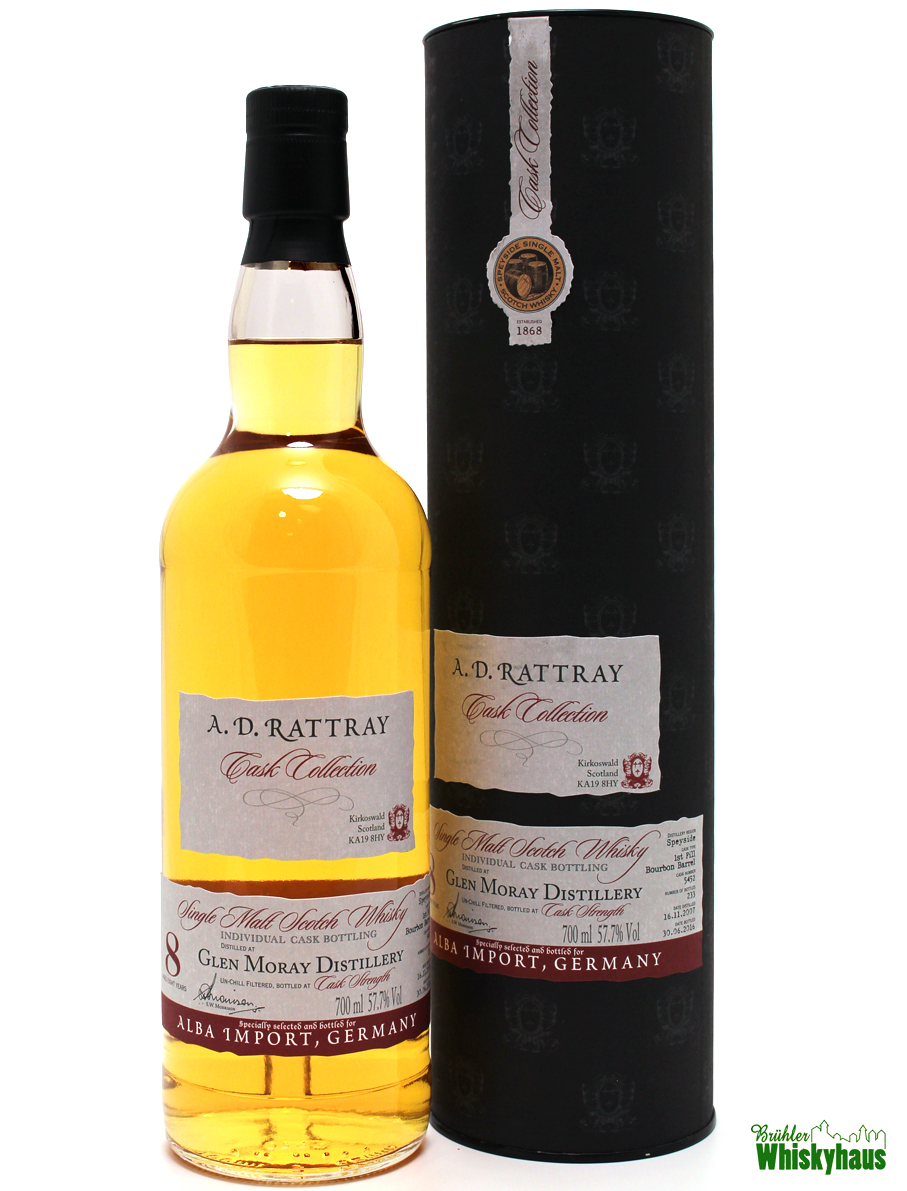 Glen Moray 8 Jahre - 1st Fill Bourbon Barrel N° 5452 - A.D. Rattray for Germany - Single Malt Scotch Whisky