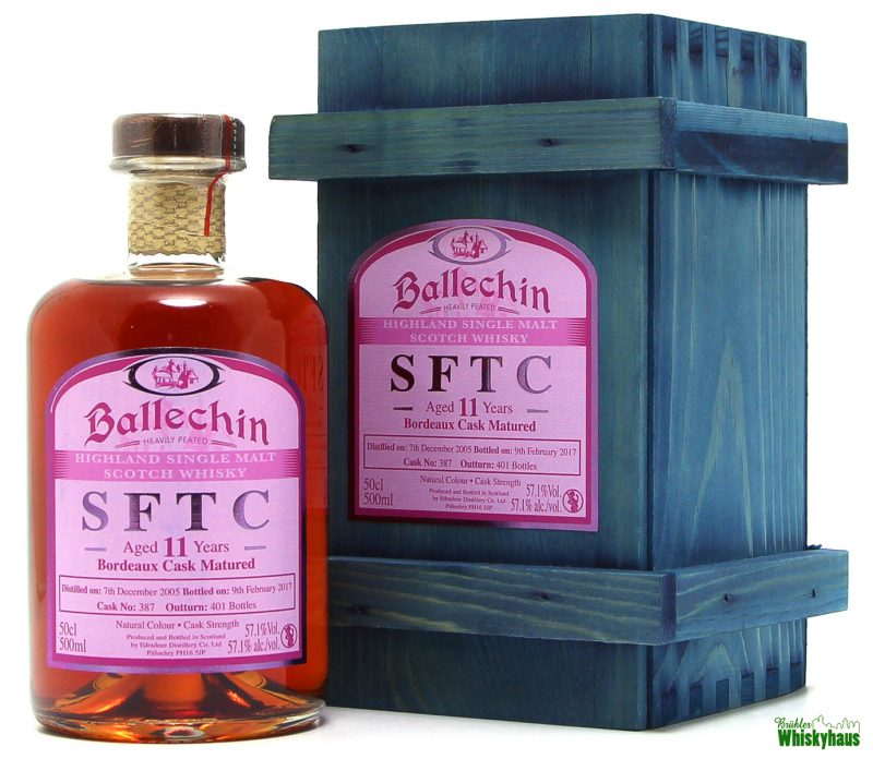 Ballechin 11 Jahre - Bordeaux Cask Matured - Cask No. 387 - Heavily Peated Highland Single Malt Scotch Whisky