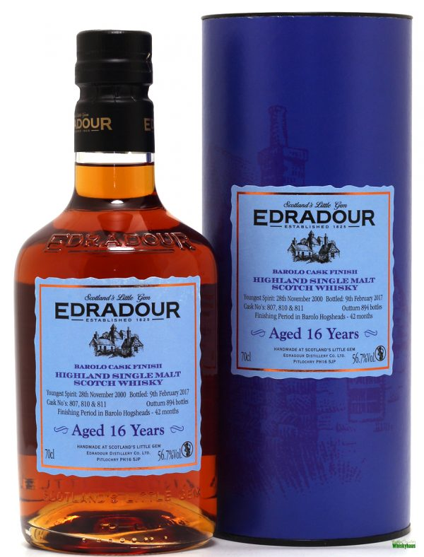 Edradour 16 Jahre - 42 Months Barolo Cask Finish - Highland Single Malt Scotch Whisky