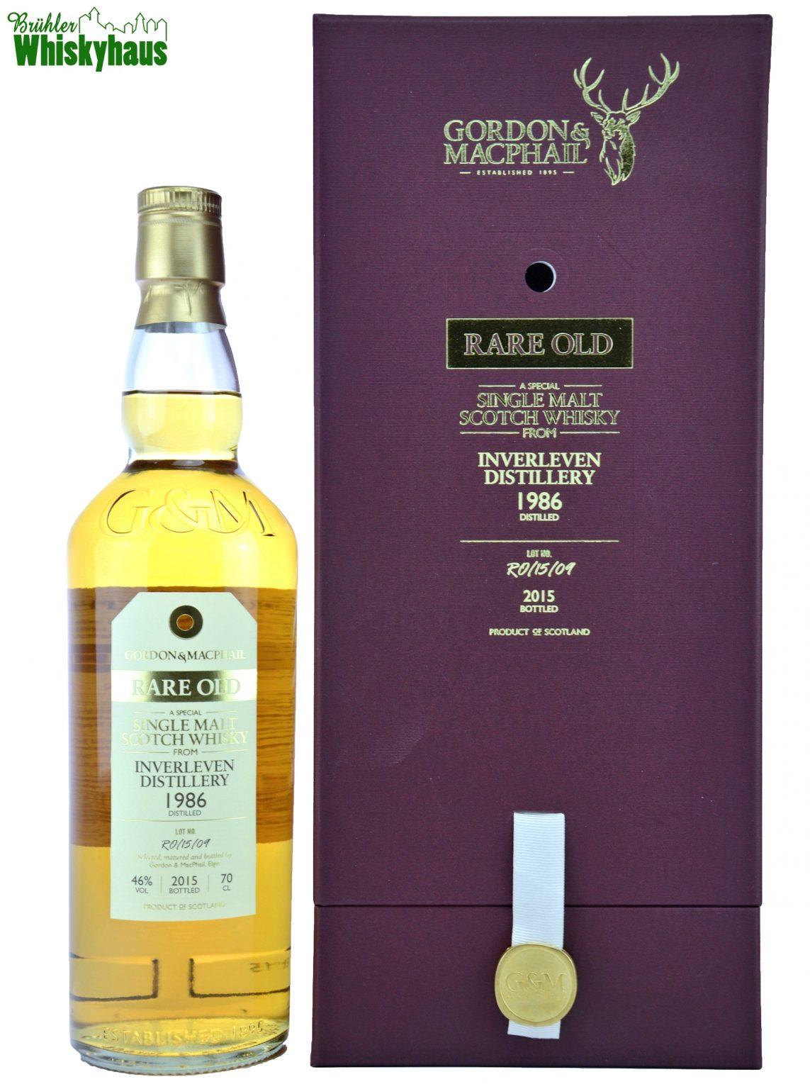 Inverleven Vintage 1986 - 29 Jahre - Refill Bourbon Cask No. RO/15/09 - Gordon & MacPhail - Single Malt Scotch Whisky