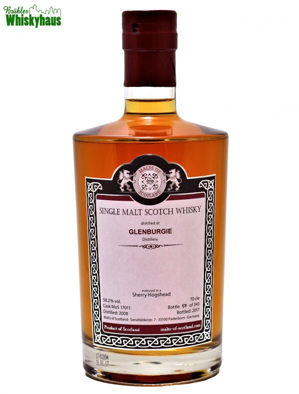 Glenburgie 9 Jahre - Sherry Hogshead Cask MoS N°17011 - Malts of Scotland - Single Malt Scotch Whisky