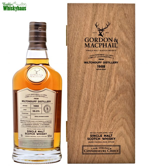Miltonduff 30 Jahre – Refill Bourbon Barrel 18/067 – Gordon & MacPhail Connoisseurs Choice – Single Malt Scotch Whisky