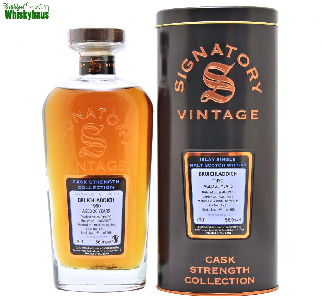 Bruichladdich 26 Jahre - Refill Sherry Butt No.172 - Signatory Vintage - Cask Strength Collection - Islay Single Malt Scotch Whisky