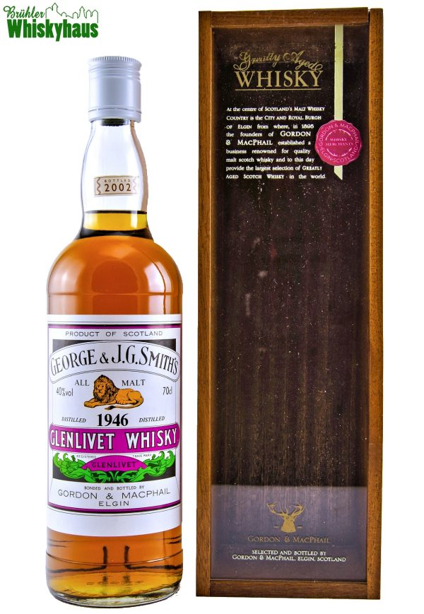 Glenlivet Vintage 1946 - 45 Jahre - George & J.G. Smith's - Distillery Label by Gordon & MacPhail - Single Malt Scotch Whisky