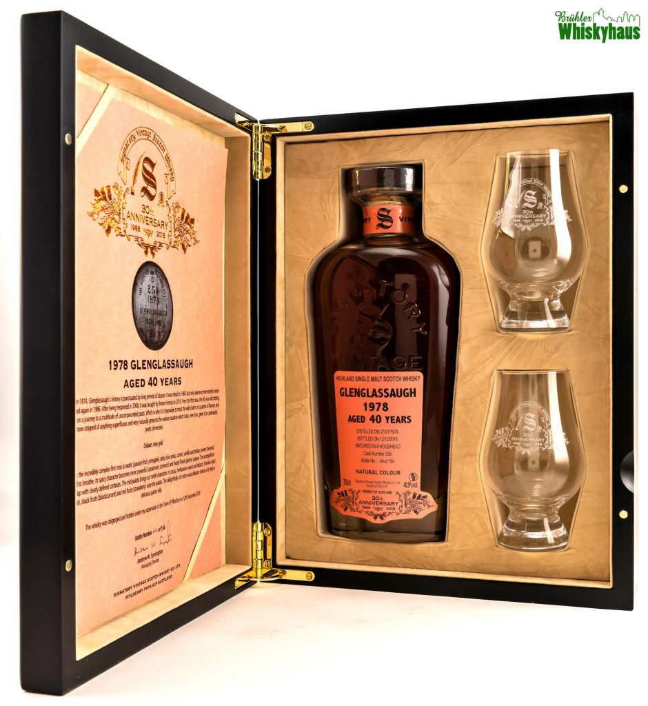Signatory 30th Anniversary - Glenglassaugh 40 Jahre - Vintage 1978 - Hogshead / Cask Number 258 - Highland Single Malt Scotch Whisky