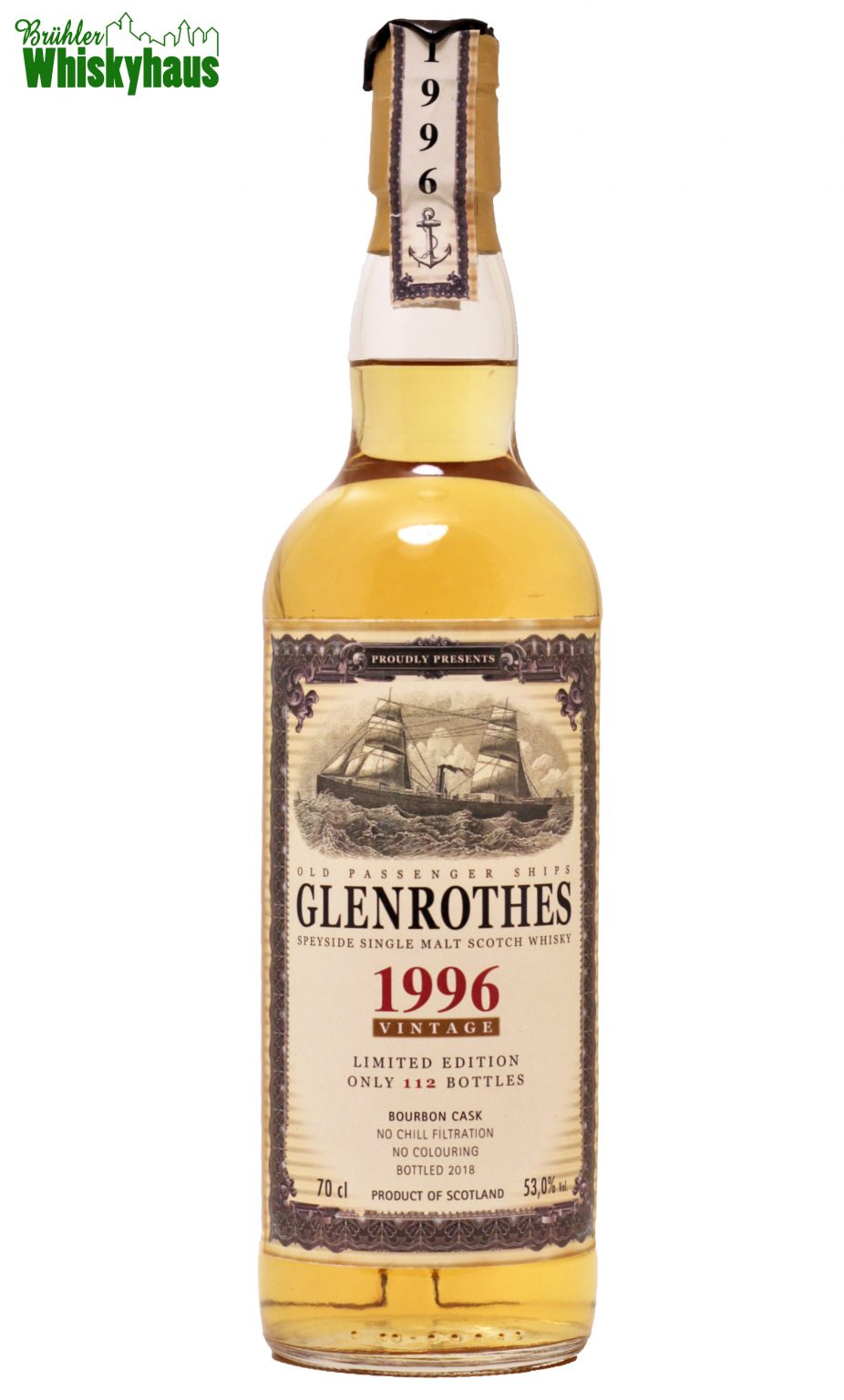 Glenrothes 21 Jahre - Bourbon Cask No. 82-a - Old Passenger Ships for Jack Wiebers Whisky World - Speyside Single Malt Scotch Whisky