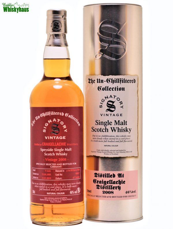 Craigellachie 9 Jahre - 1st Fill Sherry Butt Cask 900617 - Signatory Vintage Un-Chillfiltered Collection- Single Malt Scotch Whisky