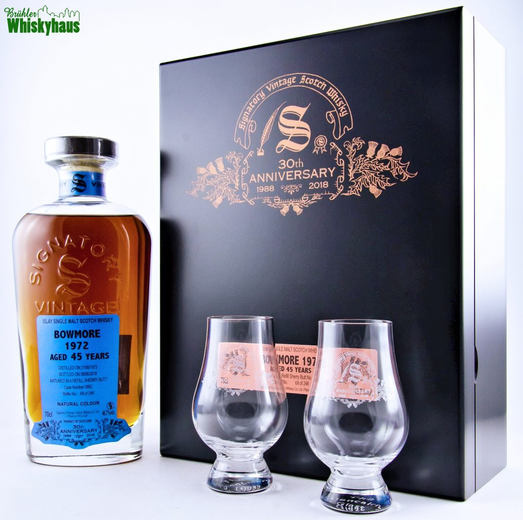 Signatory 30th Anniversary - Bowmore 45 Jahre - Vintage 1972 - Refill Sherry Butt / Cask Number 3882 - Islay Single Malt Scotch Whisky