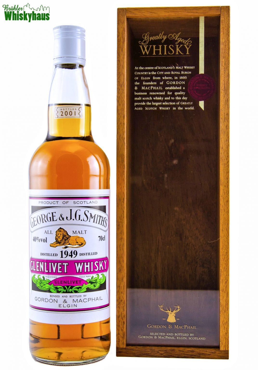 Glenlivet 52 Jahre - Vintage 1949 - George & J.G. Smith's - Rare Vintage Serie by Gordon & MacPhail - Single Malt Scotch Whisky