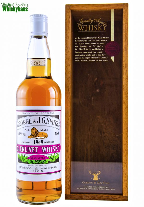 Glenlivet 52 Jahre - Vintage 1949 - George & J.G. Smith's - Rare Vintage Serie by Gordon & MacPhail - Single Malt Scotch Whisky