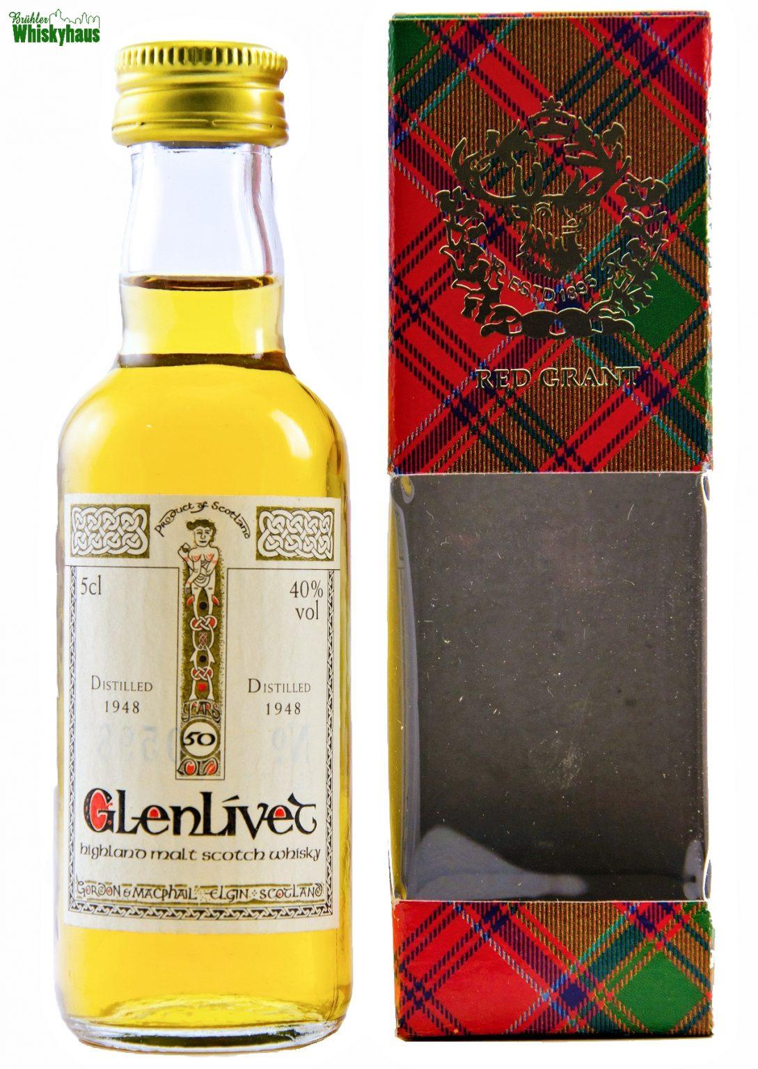 Miniatur Glenlivet Vintage 1948 - 50 Jahre - Book of Kells Serie by Gordon & MacPhail - Single Malt Scotch Whisky