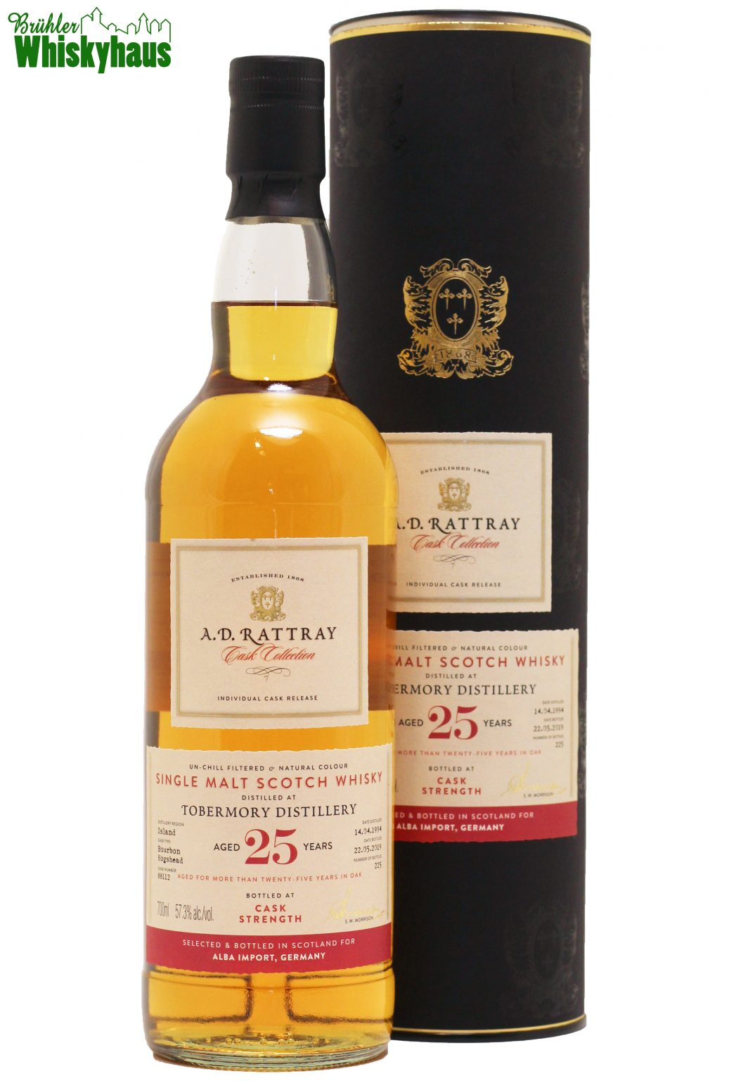 """Tobermory 25 Jahre - Bourbon Hogshead N° 88112 - A.D. Rattray """"Exclusive for Germany"""" - Single Malt Scotch Whisky"""