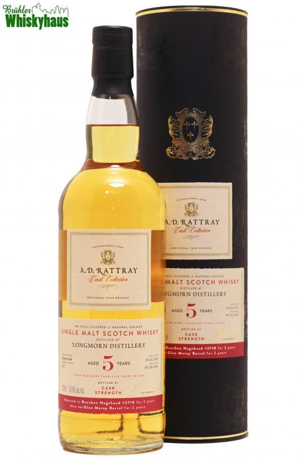 Longmorn 5 Jahre - Matured in Bourbon Hogshead N° 2710 for 3 Years - then Ex-Glen Morray Barrel for 2 Years - A.D. Rattray - Single Malt Scotch Whisky
