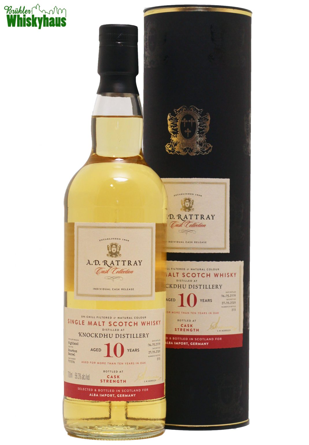 "Knockdhu 10 Jahre - Bourbon Barrel N° 700306 - A.D. Rattray ""Exclusive for Germany"" - Single Malt Scotch Whisky"