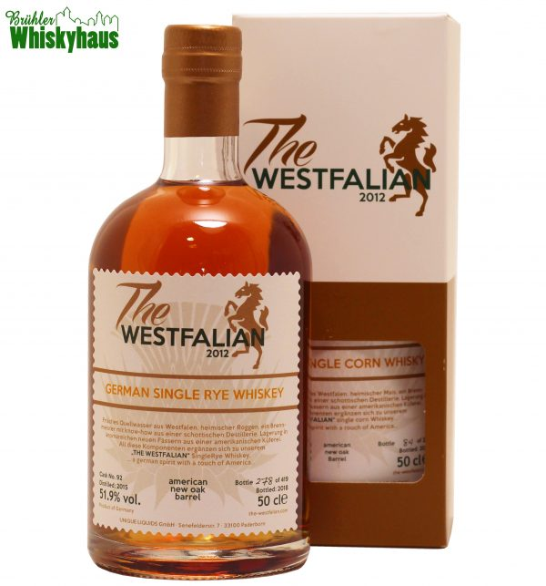 The Westfalian 3 Jahre - American New Oak Bourbon Barrel N°92 - UNIQUE LIQUIDS GmbH - German Single Rye Whisky