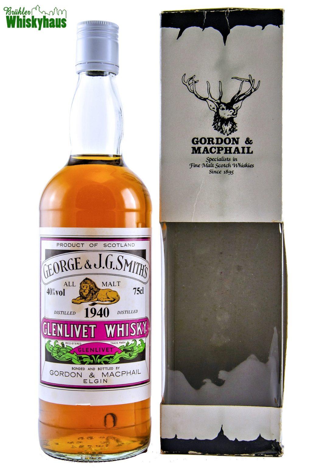 Glenlivet Vintage 1940 - George & J.G. Smith's - Rare Vintage Serie by Gordon & MacPhail - Single Malt Scotch Whisky