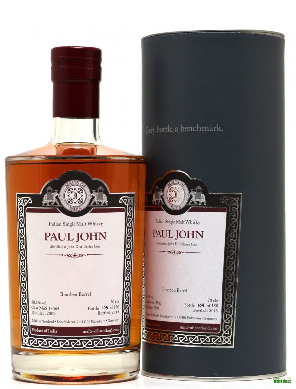 Paul John 15 Jahre - Bourbon Barrel MoS Cask N°15065 - Malts of Scotland - Indien Single Malt Whisky